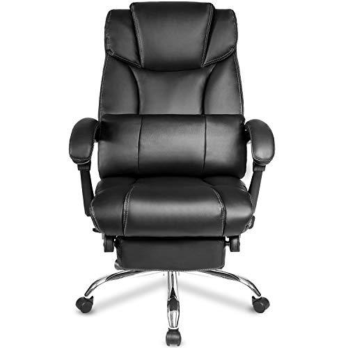 Renxiaoliangqhdz Atmosferico, semplice ed ergonomico reclinabile per ufficio, stile da corsa con retrosoffitto alto con supporto a vita, sedile regolabile in altezza, pelle PU di alta qualità doppia i