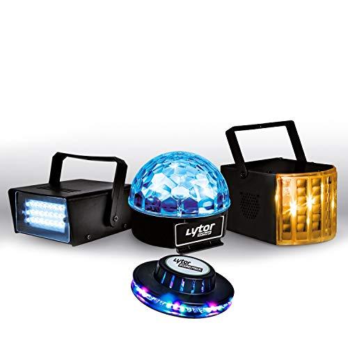 PACK ZIRKUS LytOr 4 Jeux de lumière stroboscope + dôme ASTRO 6 LEDs + Derby 4 LEDs RGBW + effet OVNI