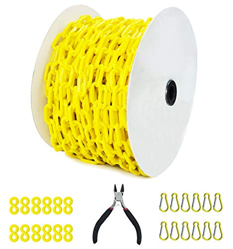 Reliabe1st 125 Feet Yellow Plastic Safety Barrier Chain with 12 S-Hooks   12 Carabiner Clips   Caution Security Chain Safety Chain for Crowd Control, Construction Sit