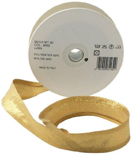 Inastri 25/5/5 mm Lurex Baumwollschrägband, goldfarben 9562
