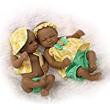 GJJSZ Mini 11'Black Couple Alive Reborn Baby Dolls Silicone Full Body African American Twins
