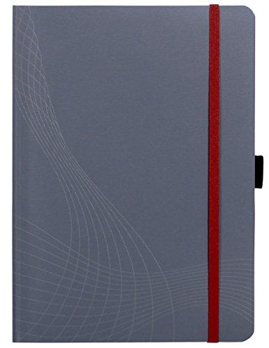 AVERY Zweckform 7019 Notizbuch notizio (A5, Softcover, gebunden, kariert, 90 g/m², 80 Seiten, Notizblock mit Innentasche, Stiftschlaufe, Verschlussband und Lesezeichenband) grau