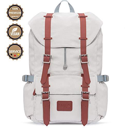 Fjorda Canvas Rucksack Fidelio - Als Handgepäck, für die Schule oder Uni, mit Laptop-Fach - Viel Platz durch 23L Volumen - Für Damen und Herren (Hellgrau)