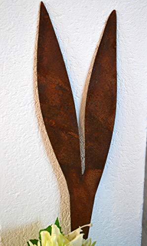 Maison en France Hasenohren 1 Stecker 50 cm- -große Lange Hasenohren zum Einstecken,- besonders hübsch in großen Pflanztöpfen- aus Stahl mit Edelrost für Haus und Garten, wetterfest und sehr stabil