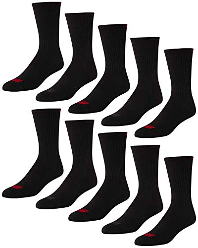 'New Balance Men's Athletic Arch Compression Cushion Comfort Solid Crew Socks (10 Pack), Black/Grey, Size Shoe Size: 6-12.5'