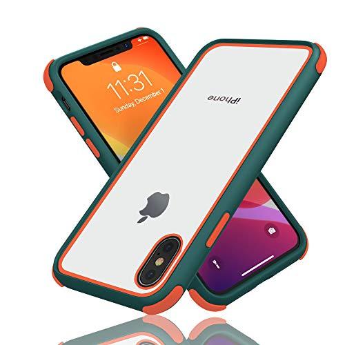 Geestyle Funda para iPhone X,Funda para iPhone XS,Funda para iPhone 10,Silicona Transparente PC/TPU Bumper Antigolpes Caso para iPhone XS X Naranja Verde