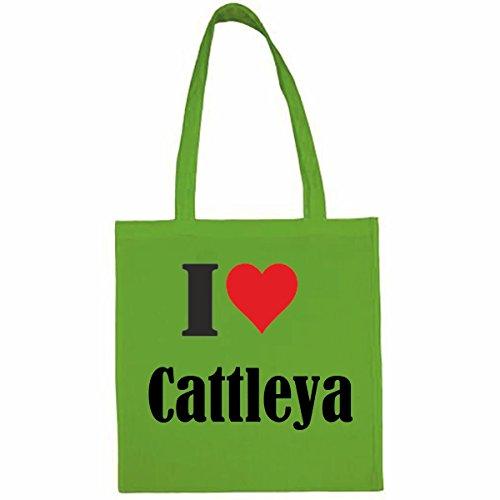 Tasche I Love Cattleya Größe 38x42 Farbe Grün Druck Schwarz