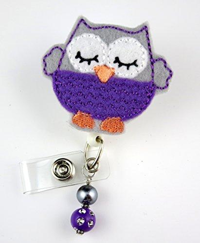Adorable Sleepy Owl Purple/Gray - Nurse Badge Reel - Retractable ID Badge Holder - Nurse Badge - Badge Clip - Badge Reels - Pediatric - RN - Name Badge Holder