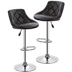 ✔【HIGH SITTING COMFORT】 Our bar stoos are made of high duty chrome, padded with foam and covered with PU leather, The counter stools are ergonomically designed: You can lean against the back of the stool and put your legs on the footrest for a better...