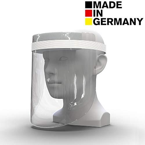 1 x DECADE Visera de plástico, visera universal para niños y adultos, visera para protección contra líquidos fabricada en Alemania