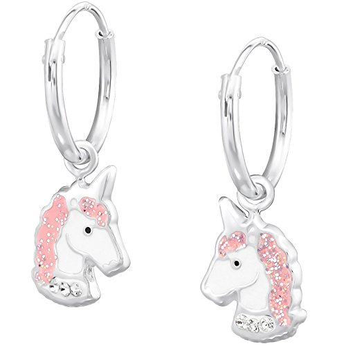 JAYARE Ohrringe Mädchen Einhorn 925 Sterling Silber rosa-pink Kinder Creolen