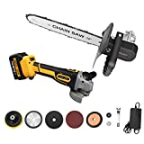 21V Cordless Angle Grinder Kit Chainsaw Tool with 12' Electric Chain Saw Converter Adapter