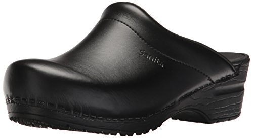 Sanita | Sonja PU offener Clog | Original handgemacht | Flexible Leder-Clogs für Damen | Schwarz | 35 EU