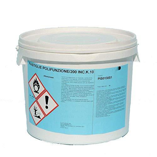 Cloro Multifunzione, Pastiglie 200 g Cloro Polifunzione Dicloro, Alghicida, Flocculante per Acqua Piscina kg 10