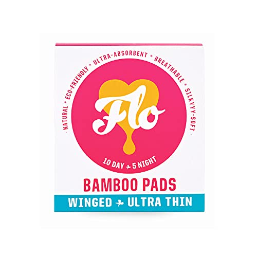 FLO Organic Bamboo Period Pads for Women, Biodegradable & Plastic Free,...