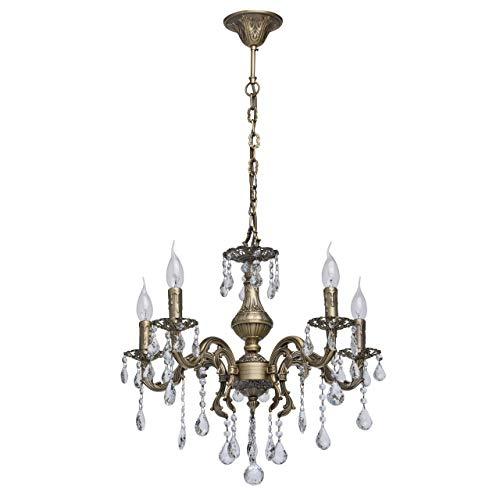 MW-Light 301017605 Klassischer Kronleuchter Antik Messing Farbe 5 Flammig Kristall Klar 5 x 60W E14