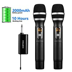 EXTRA LONG BATTERY LIFE: The mini receiver is powered by built-in large capacity 18650 rechargeable battery. Working time can be as long as 10 hours continuous use. Handheld microphones are powered by AA batteries. Change battery is easy. FULL COMPAT...