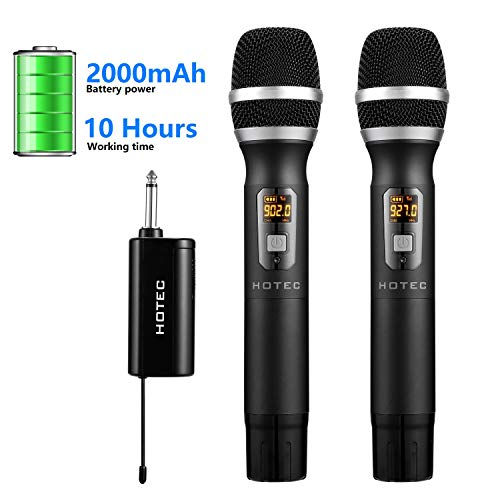 Hotec UHF Dual Handheld Wireless Microphone with Mini Portable Receiver 1/4