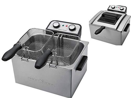 Doppel Fritteuse mit Öl 3000 Watt Friteuse 5 Liter Geruchsfilter Edelstahl Kaltzonenfritteuse (2 Frittierkörbe, Überhitzungsschutz, Timer, Thermostate)