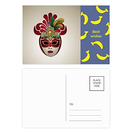 DIYthinker Ronde Gezicht Masker Gelukkig Carnaval van Venetië Banaan Postkaart Set Thanks Card Mailing Side 20 stks 5.7 inch x 3.8 inch Multi kleuren