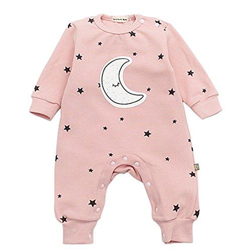 Bebone Baby Strampler Jungen Mädchen Overall Stern und Mond Babykleidung (3-6 Monate/73, Rosa)
