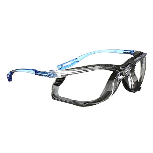3M Safety Glasses, Virtua CCS, ANSI Z87, Anti-Fog, Clear Lens, Blue Frame, Corded Ear Plug Control, Removable Foam Gasket