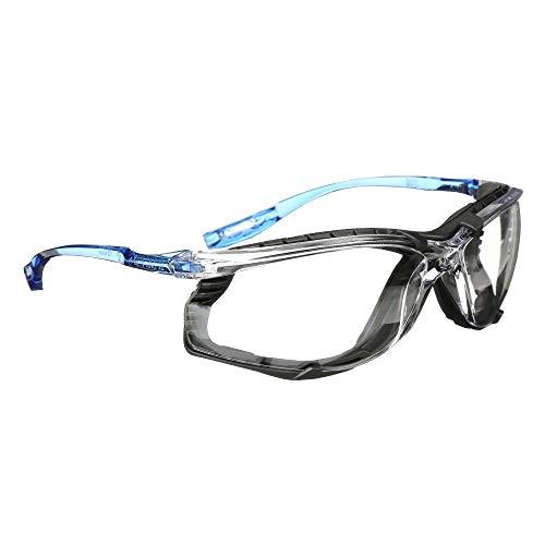 3M Safety Glasses, Virtua CCS, ANSI Z87, Anti-Fog, Clear Lens, Blue Frame, Corded Ear Plug Control,...