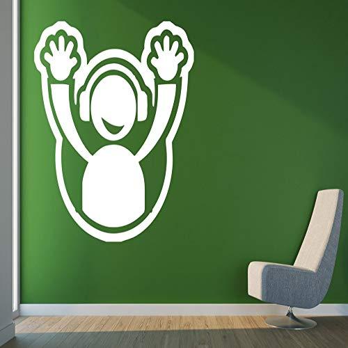 zqyjhkou Etiqueta de la Pared Calcomanía de Vinilo DJ Placa de Auriculares Hands Up Club Party Decor Decoración del hogar Sala de Estar Dormitorio Calcomanías extraíbles 2 57x61cm