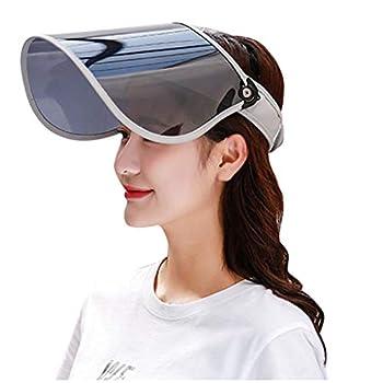ErYao Sun Visor UV Protection HAT Face Sheild Cap Plastic Poker Visor Hat Hiking Golf Tennis Outdoor Gray