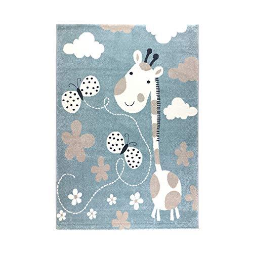 havatex Kinderteppich Giraffe - Blau | modernes Kinder-Motiv mit Schmetterlingen Blumen Wolken | Öko-Tex Siegel | für Mädchen und Jungen Kinderzimmer, Farbe:Blau, Größe:80 x 150 cm