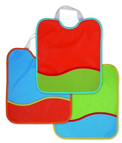 Ti TIN - Pack de 3 Baberos Impermeables para Bebé 100% Poliuretano | Lote de 3 Baberos Transpirables con Cierre con Goma y Bolsillo para Bebés de Más de 1 Año, 28x32 cm
