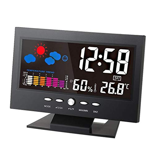 Meter - deg;C/deg;F Multifunctional Indoor Colorful LCD Digital Temperature Humidity Meter Weather Station Clock Thermometer Hygrometer Comfort Level Weather Forecast Vioce-activated Backlight with d