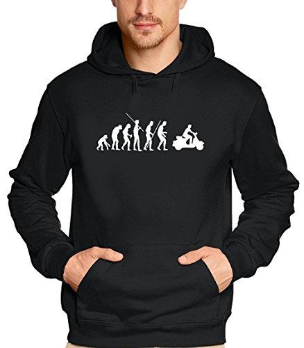 Coole-Fun-T-Shirts Scooter evolution Roller Scooterist - Sweatshirt mit Kapuze - Hoodie schwarz Gr.L
