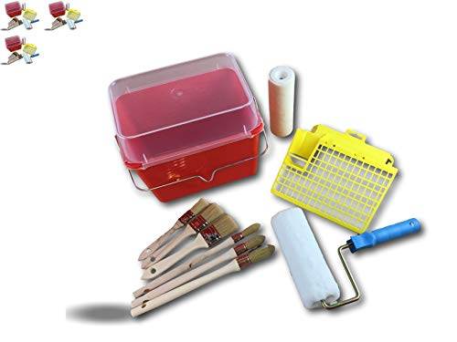 Painting Set | Set of 3 | 12 Pieces | 1 Tray + Grill + Lid | 2 Polyester Sleeves 180 mm | 3 Paint Brushes 15-18-21 mm | 3 Paint Brushes 20-30-40 mm | Kibros PEINDIV12x3