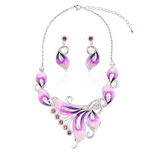 OBONNIE Pink CZ Lavender Lily Flower Petals Necklace Earring Set Silver Tone Wedding Bridal Jewelry Set, Red