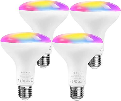 TECKIN Lampadina Smart WiFi LED 13W 1300LM Dimmerabile,E27 RGB Multicolore intelligente Lampadine,Compatibile con Alexa,Google Home e IFTTT,BR30 Equivalente 100W Lampadina con Timing,4 Pcs