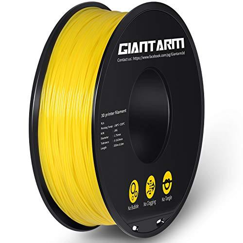 GIANTARM Filamento PLA 1.75 mm, Filamento para impresora 3D, 1 kg (Amarillo)