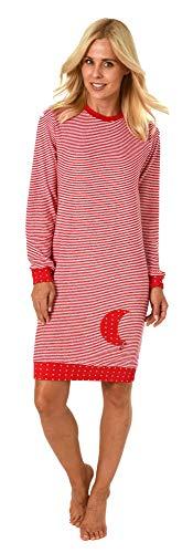 NORMANN-Wäschefabrik Damen Frottee Nachthemd mit Bündchen Sterne Tupfendesign - auch in Übergrössen bis 60/62, Größe2:48/50, Farbe:Ringel rot