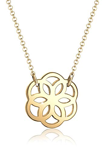 Elli Women Genuine Jewellery Necklaces Chain Neckwear Ornament Flower 925 Sterling Silver Gold Plated Length 45 cm
