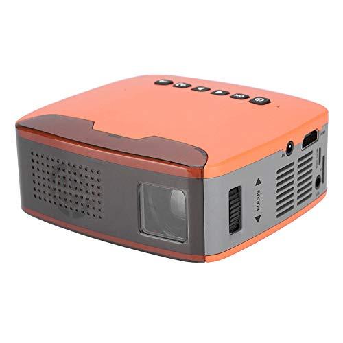 Tangxi Mini-projector, 1080P HD-thuisbioscoop, draagbare led-zakprojector/beamer ingebouwde optische glazen lens, compatibel met AV/HDMI/USB/TF, oranje, 110-240V