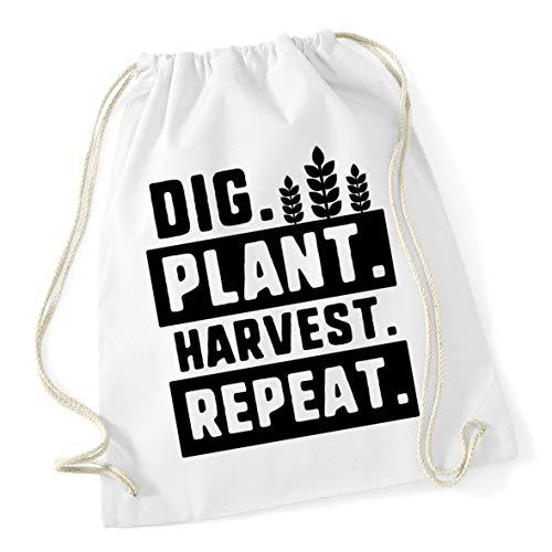 Hippowarehouse Dig. Plant. Harvest. Repeat. Drawstring Cotton School Gym Bag 37cm x 46cm, 12 litres
