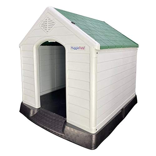 HugglePets Raised Plastic Dog Kennel XL Easy Clean Outdoor Pet House Weatherproof Durable Shelter (Green Roof)