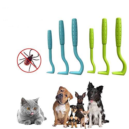 Spielen 6 st fästingborttagare verktygsset, husdjur loppborttagare verktyg, repkrok borttagare husdjur katt hund skötsel tillbehör, 3 storlekar fästingkrok borttagare, fästingplockare loppborttagningsverktyg husdjurskam