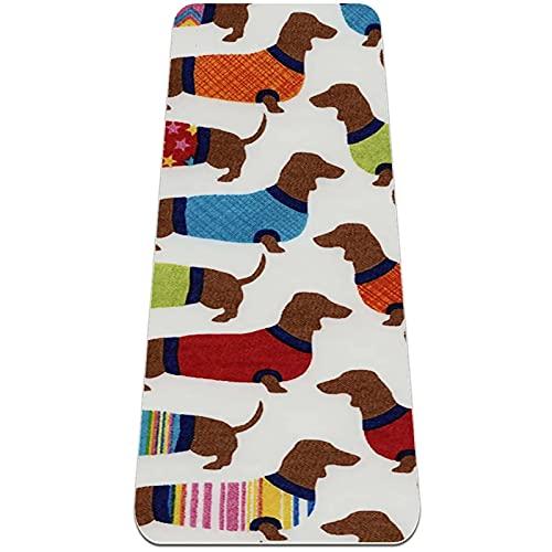 Colchonetas de yoga para mujeres de 1/4 de pulgada de grosor para ejercicios, diseño de perro salchicha, pijama
