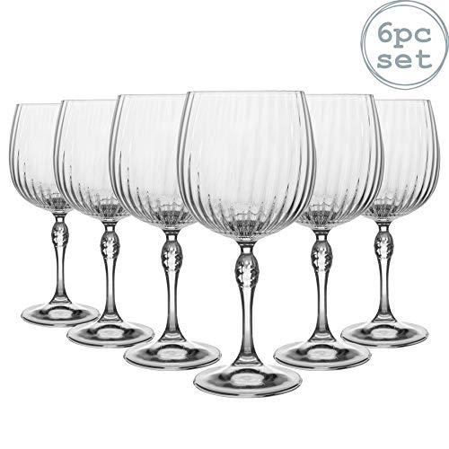 Bormioli Rocco 6 Stück America '20s Gin und Tonic-Gläser-Set - Vintage Art Deco spanische Copa de Balon Cocktailglas - 240ml