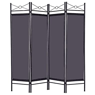 Giantex 4 Panel Room Divider Privacy Screen Home Office Fabric Metal Frame (Black)