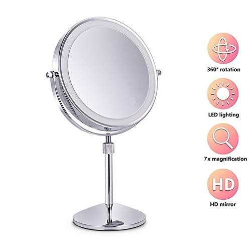 YYRZ 7X Magnification Tabletop Mirrors with Lights, 8 Inch Cosmetics Mirrors, 360° -