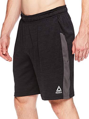 Reebok Men's Drawstring Shorts - Athletic Running & Workout Short - Cool Down Black Heather, Large