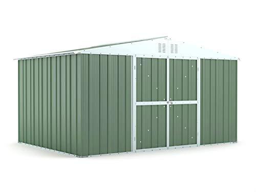 Notek Srl Box in Acciaio Zincato Casetta da Giardino in Lamiera 4.03 x 2.69 m x h2.17 m - 149 kg – 10.84 Metri Quadri (Verde)