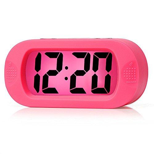 Plumeet Réveil électronique, Alarm Réveil Matin avec Grand écran LCD, Fonction Snooze, avec Veilleuse, Alimenté par Batterie,Convient Aux Alarmes de Voyage et de Chevet (Rose)